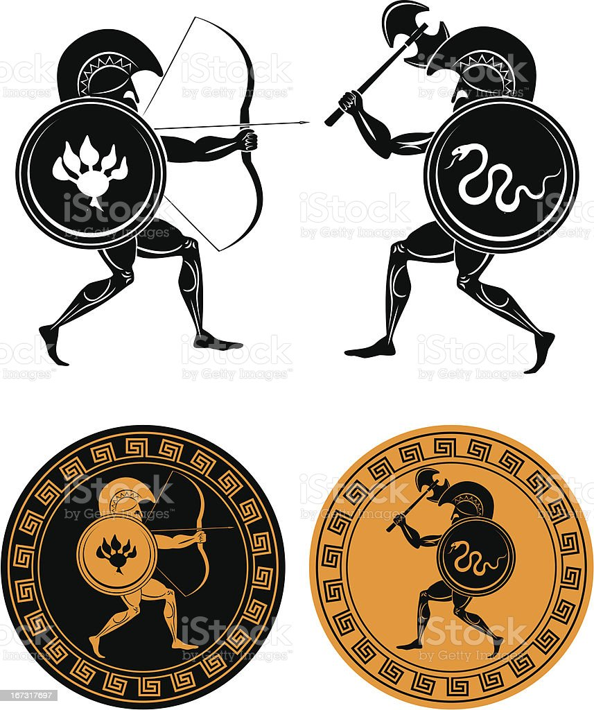 Silhouette vector icons of gladiators battling royalty-free stock vector art