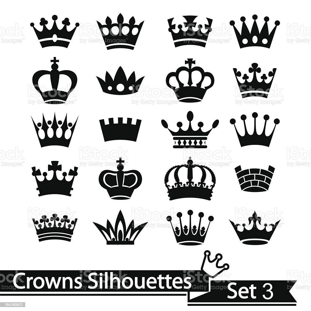 Silhouette vector illustration of a collection of 20 crowns royalty-free stock vector art
