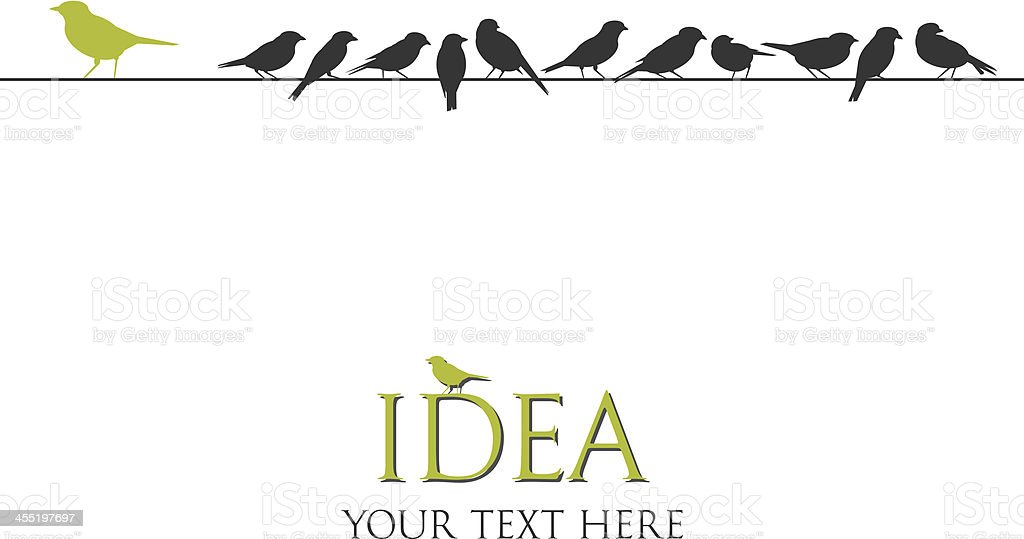 vector birds on wire - think different concept background vector art illustration