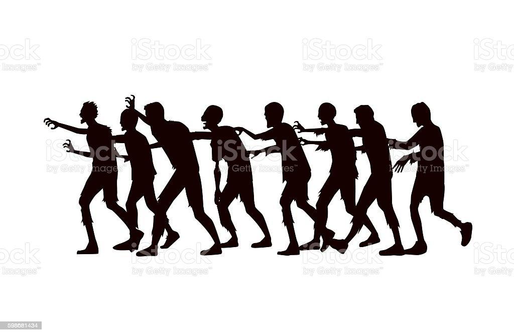 Silhouette vector zombie group walking. vector art illustration
