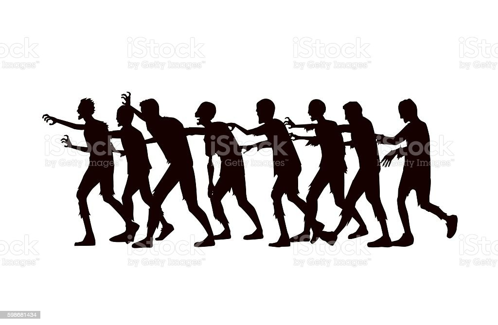 Silhouette vector zombie group walking. vector art illustration