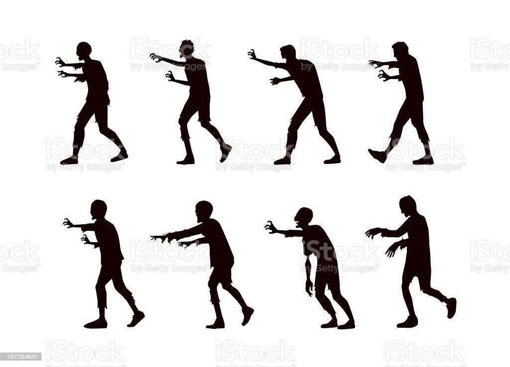 Silhouette Vector zombie walking. vector art illustration