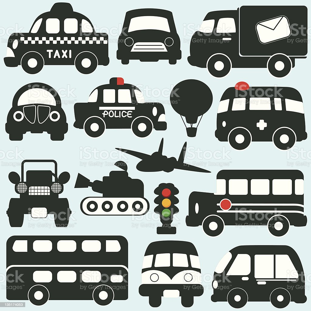 Silhouette : Vehicles, Transportation Set#2 (Vector Icons) vector art illustration