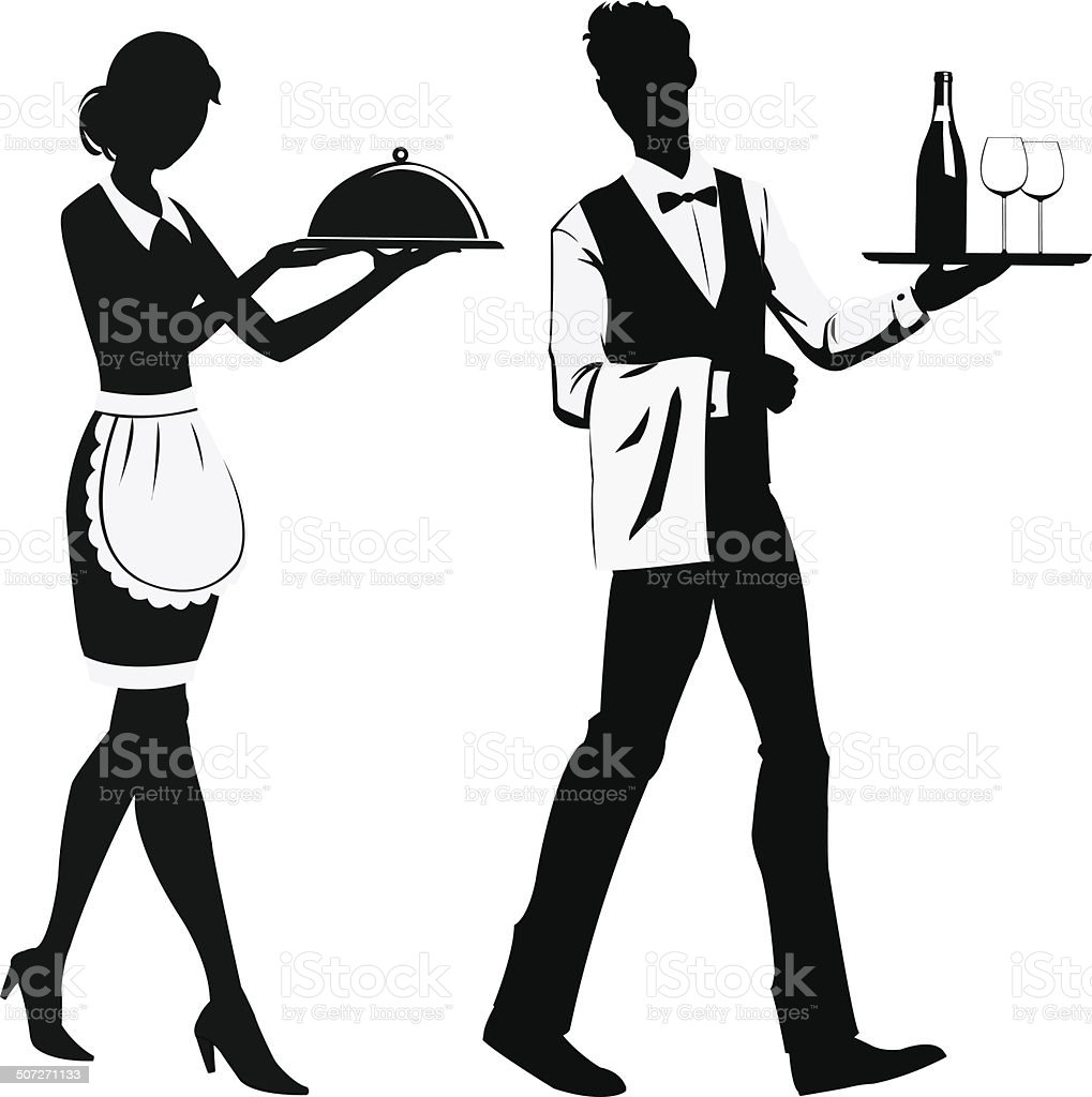 Silhouette waiters royalty-free stock vector art