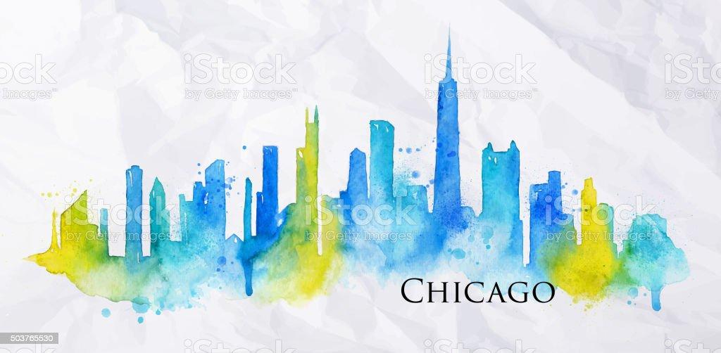 Silhouette watercolor Chicago vector art illustration