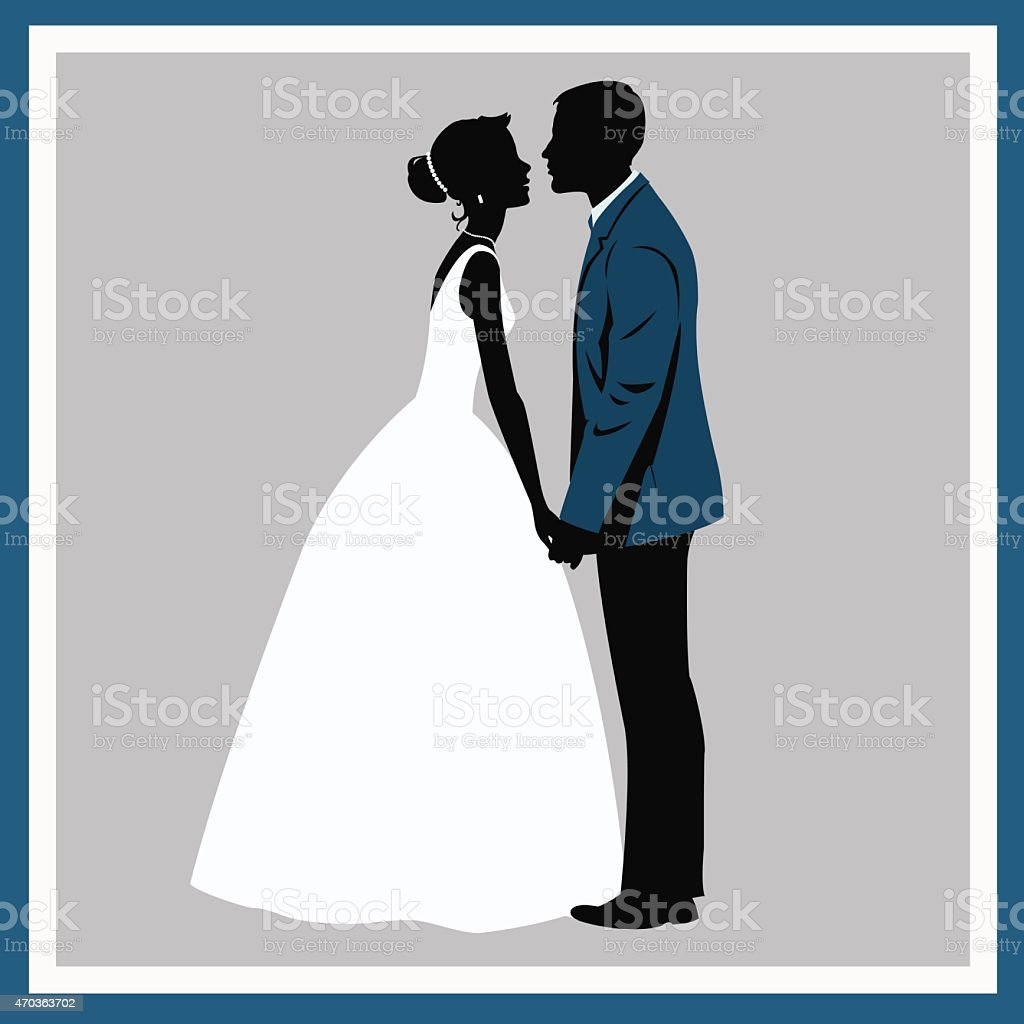 Silhouette Wedding couple in love royalty-free stock vector art