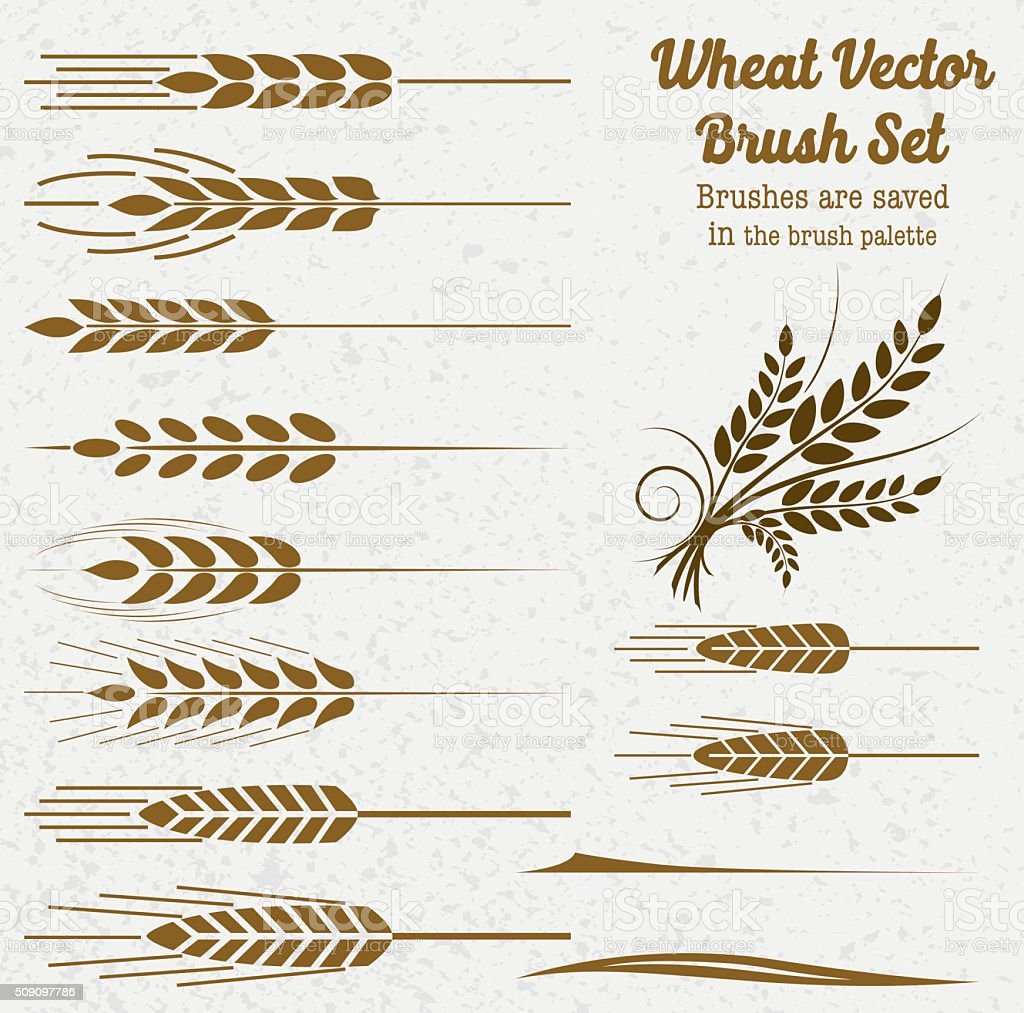 Silhouette Wheat Brushes vector art illustration