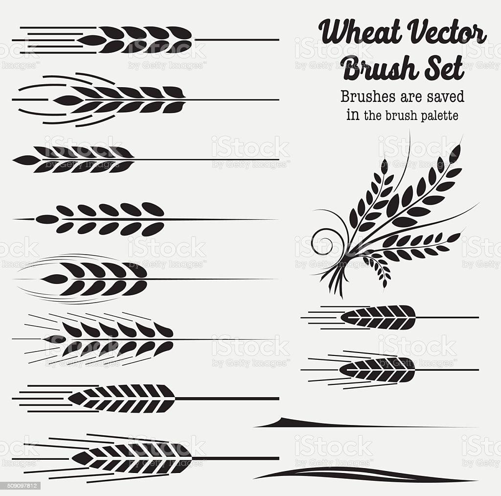Silhouette Wheat Brushes vector art illustration
