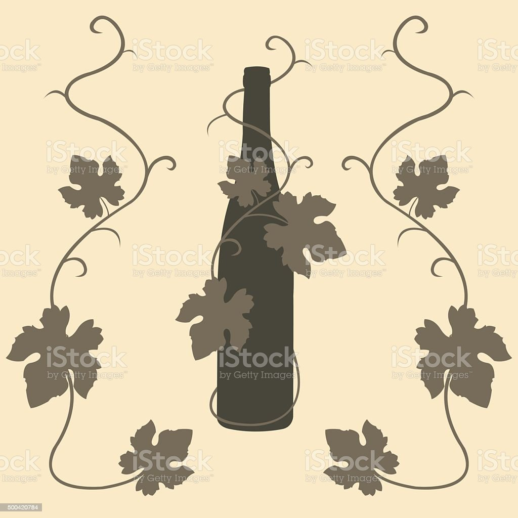 silhouette wine and grape leaves royalty-free stock vector art