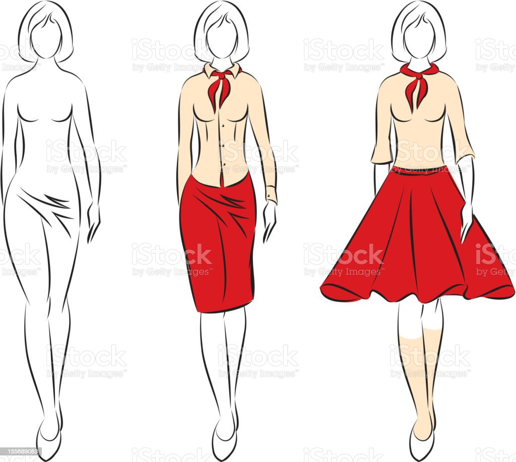 Silhouette  woman in the clothes royalty-free stock vector art