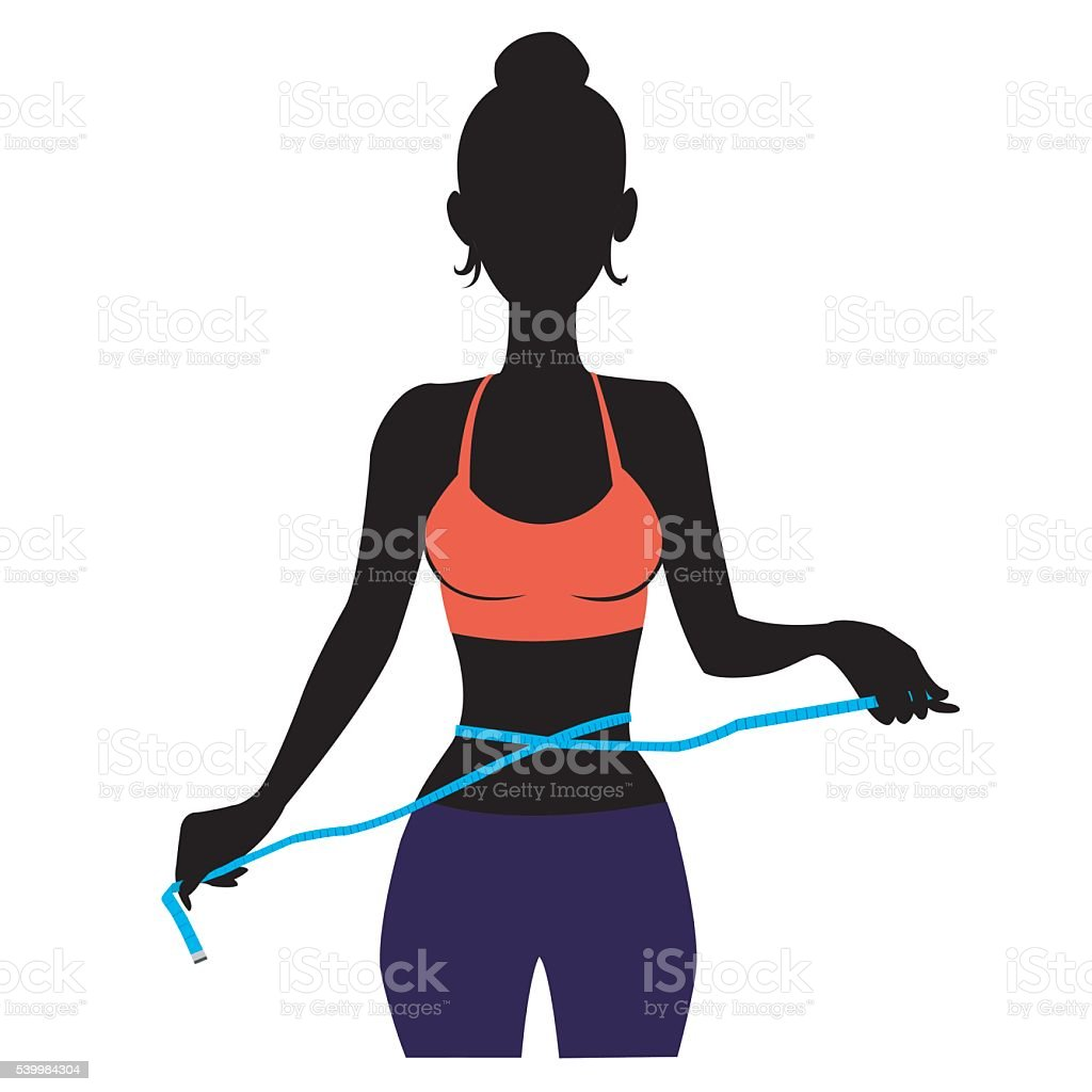 silhouette Woman measuring herself royalty-free stock vector art