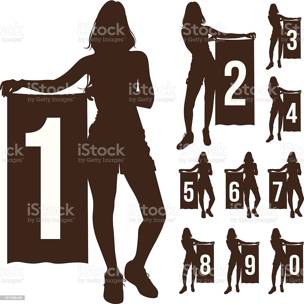Silhouette woman show number isolated royalty-free stock vector art