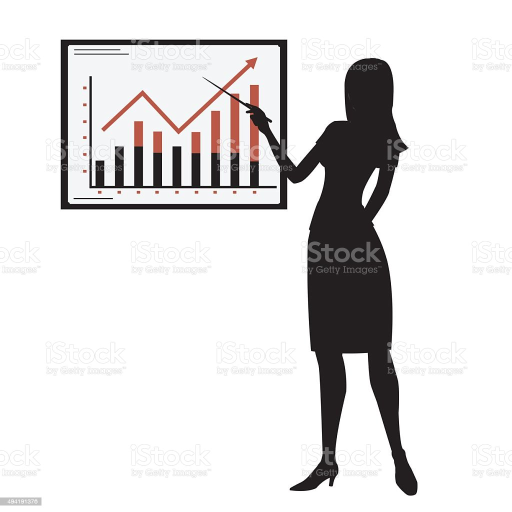silhouette woman showing presentation royalty-free stock vector art