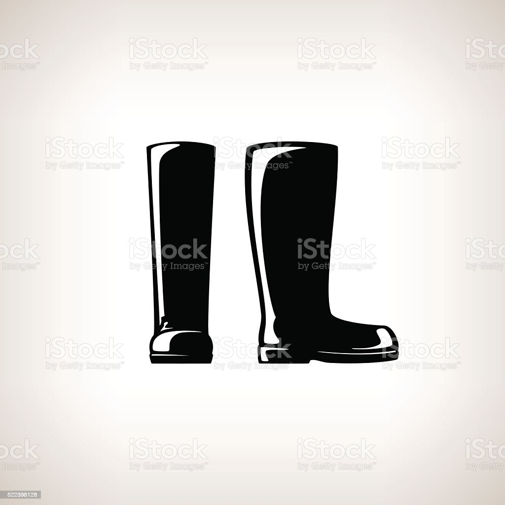 Silhouette Working Rubber Boots vector art illustration