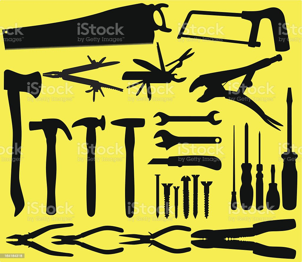 Silhouette : Working Tools/ equipment on yellow background Set #4 vector art illustration