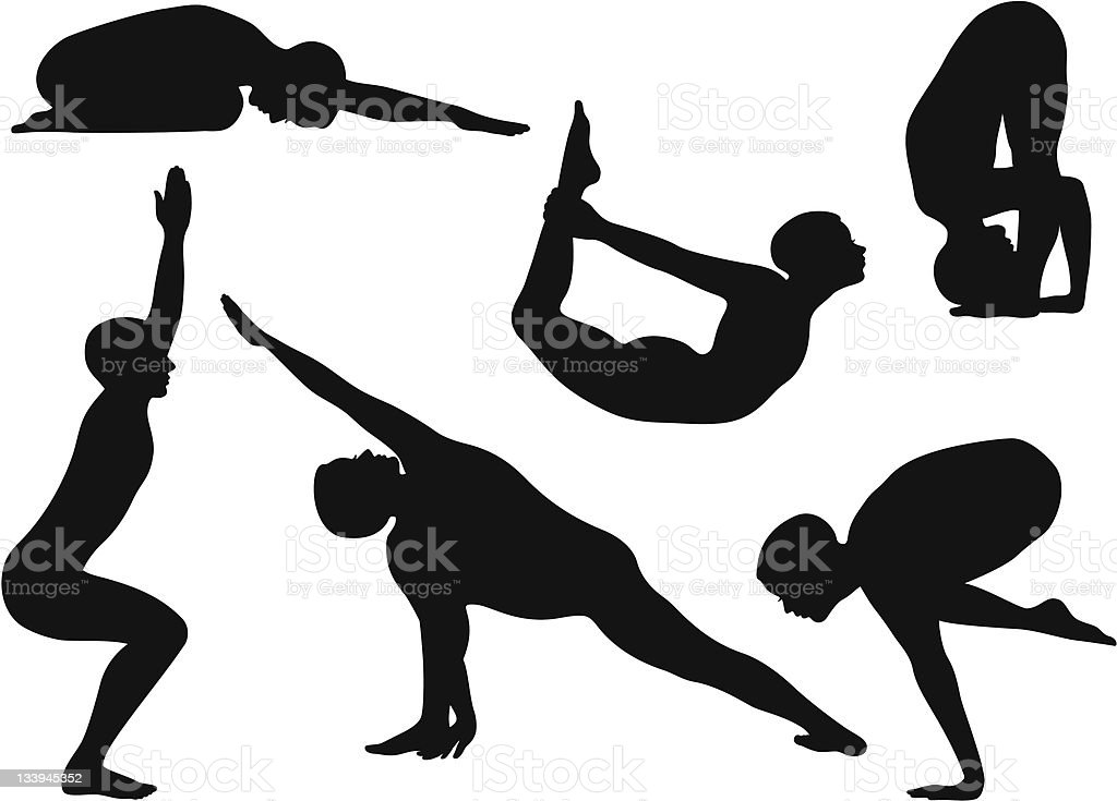 Silhouette Yoga Poses with Men vector art illustration