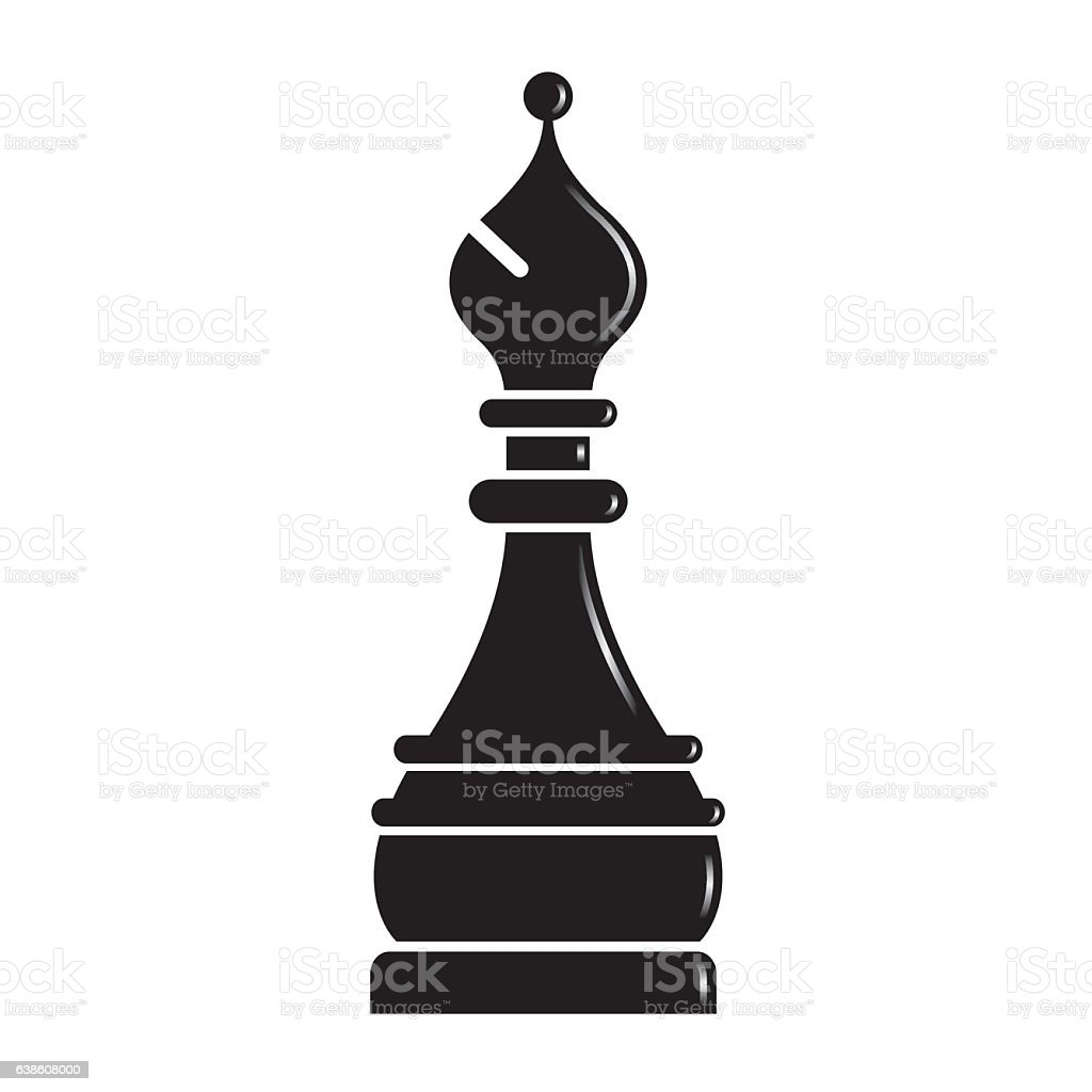 silhouetted chess piece bishop vector art illustration