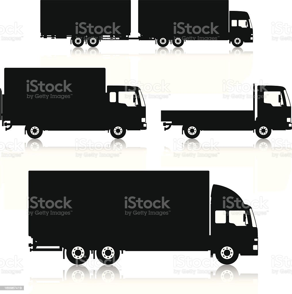 silhouetted commercial trucks vector art illustration