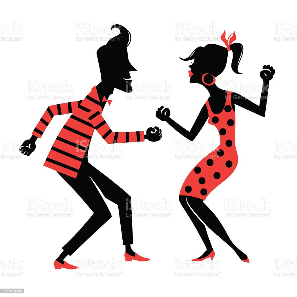 A silhouetted man and woman dancing wearing red vector art illustration