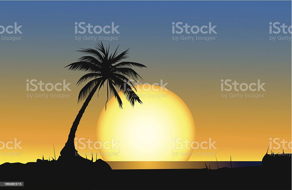 Silhouetted palm tree on a beach with a giant sun setting vector art illustration