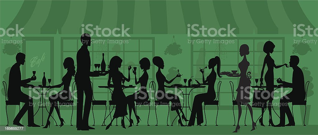 Silhouetted Restaurant People royalty-free stock vector art