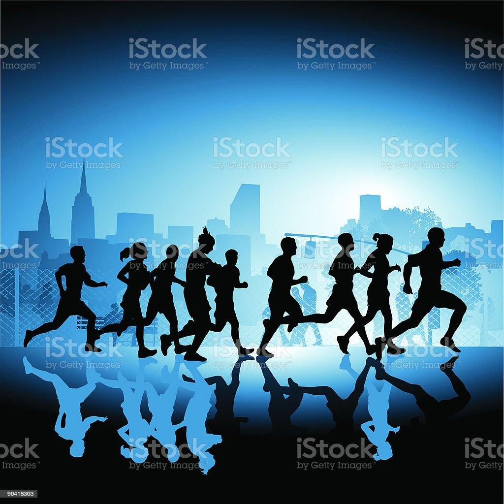 Silhouetted runners vector art illustration