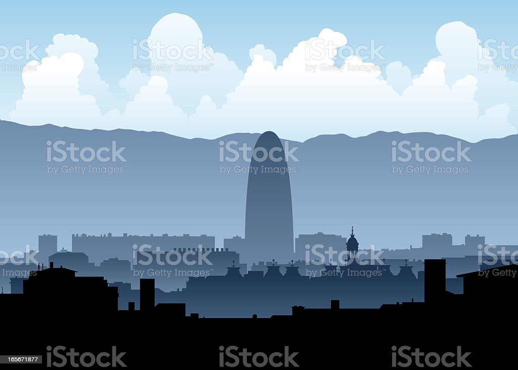 A silhouetted skyline of Barcelona royalty-free stock vector art