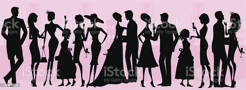 Silhouetted Wedding Party vector art illustration