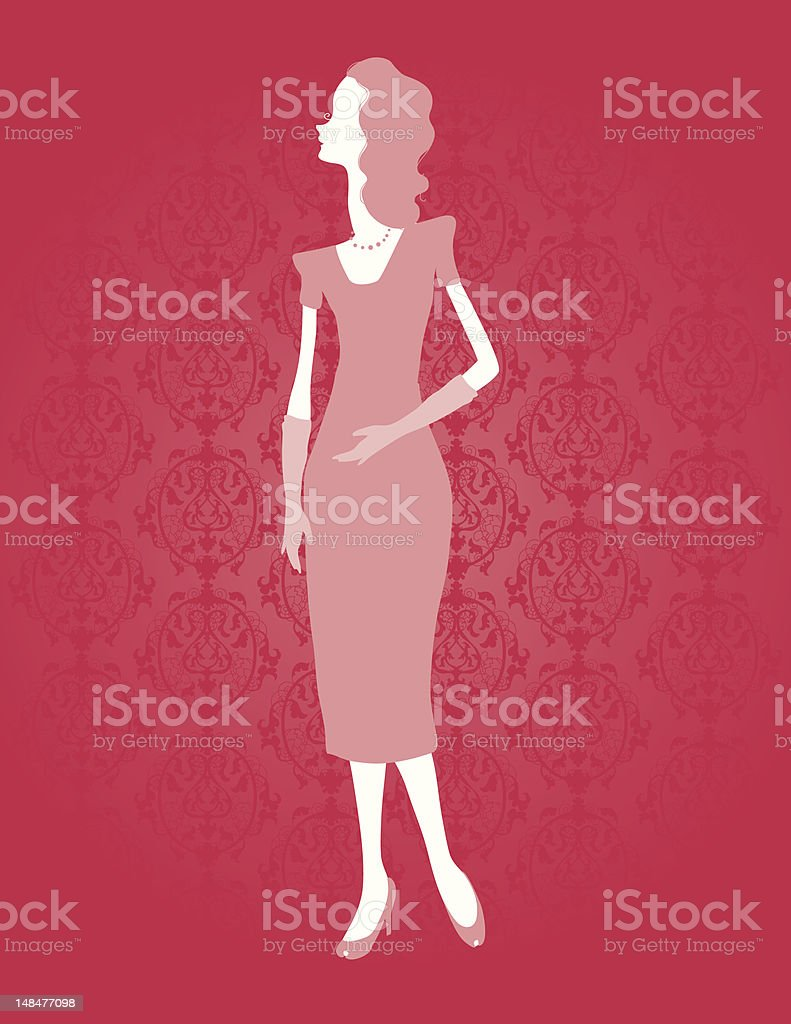 Silhouettes 40's Gal royalty-free stock vector art