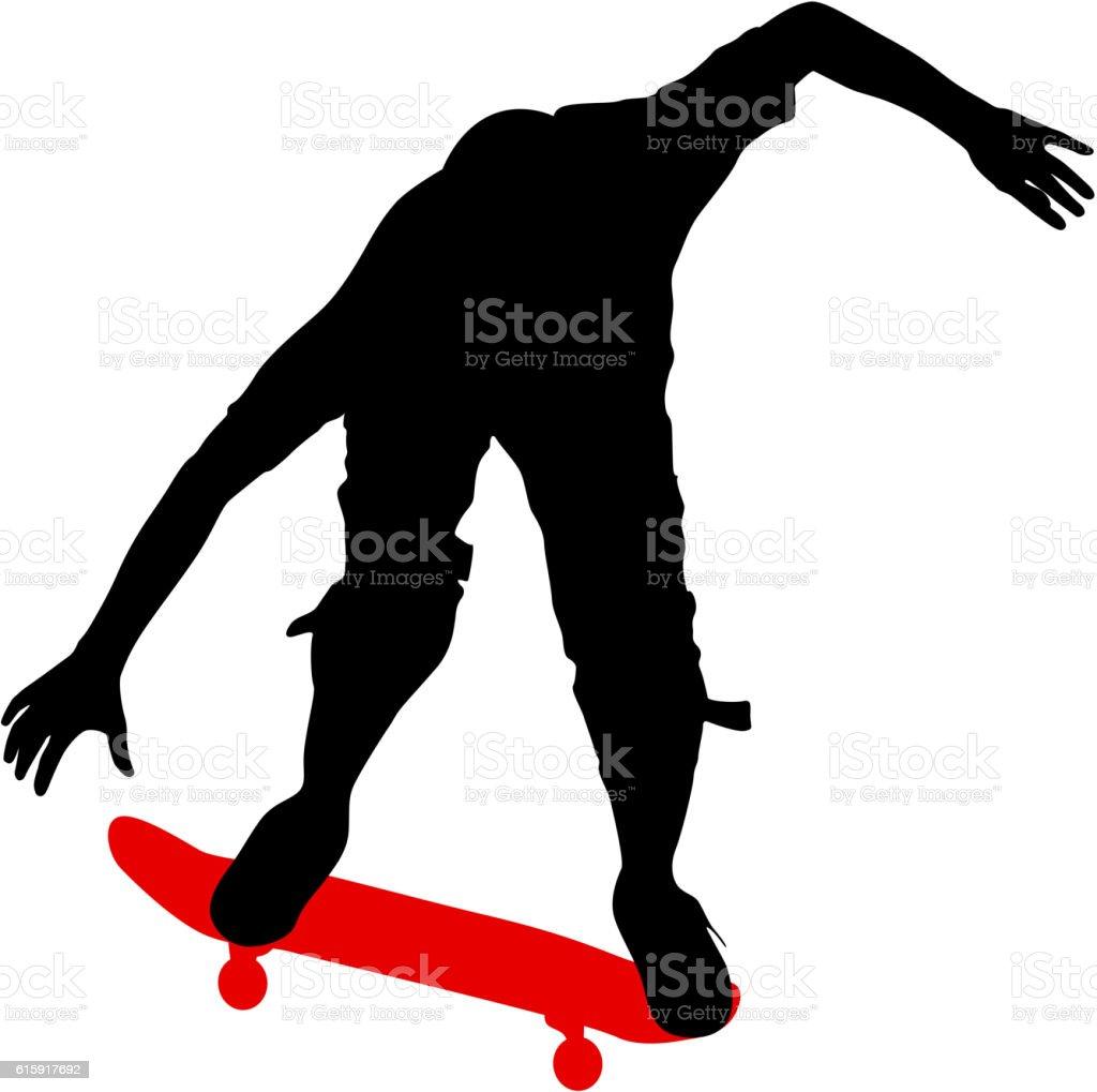 Silhouettes a skateboarder performs jumping. Vector illustration vector art illustration