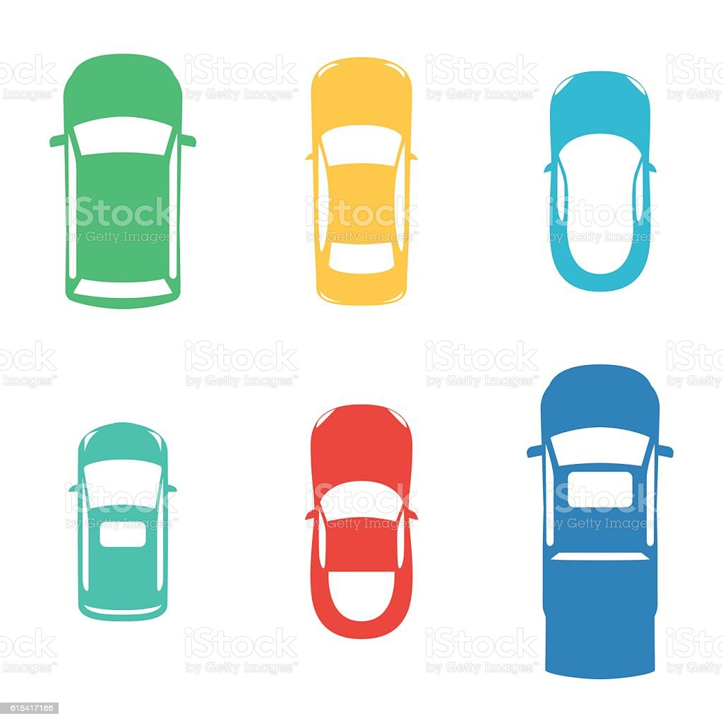 Silhouettes colored cars vector art illustration
