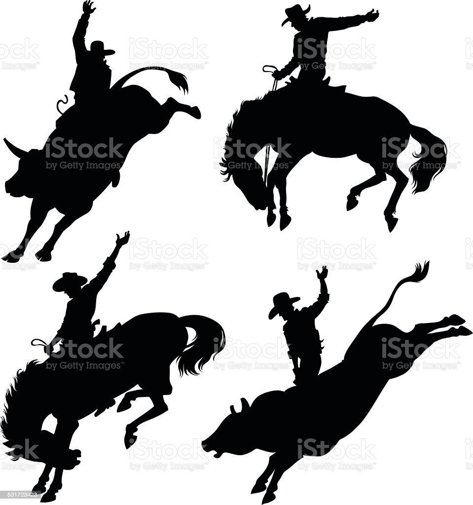 Silhouettes Depicting Rodeo vector art illustration