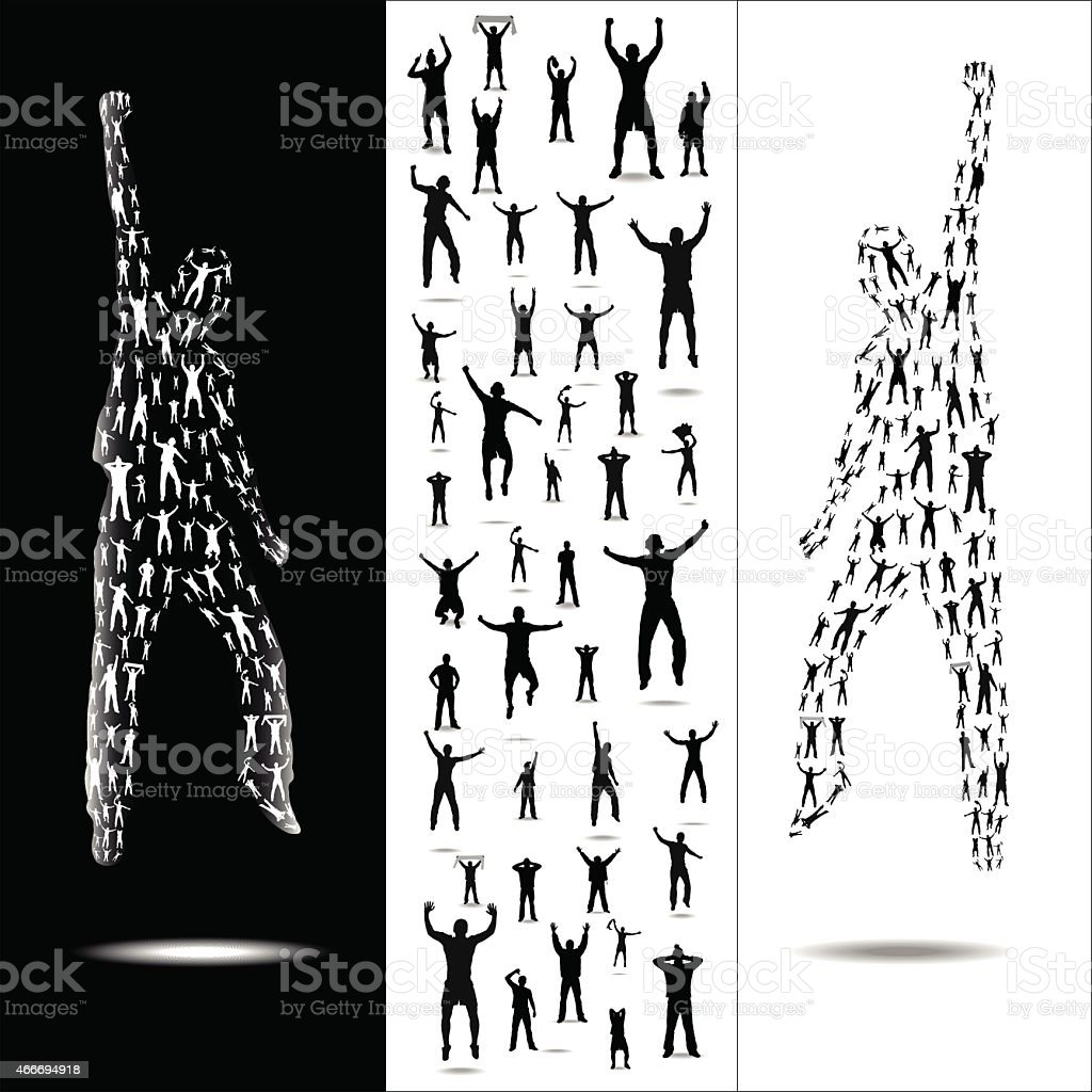 Silhouettes for sport and concerts vector art illustration