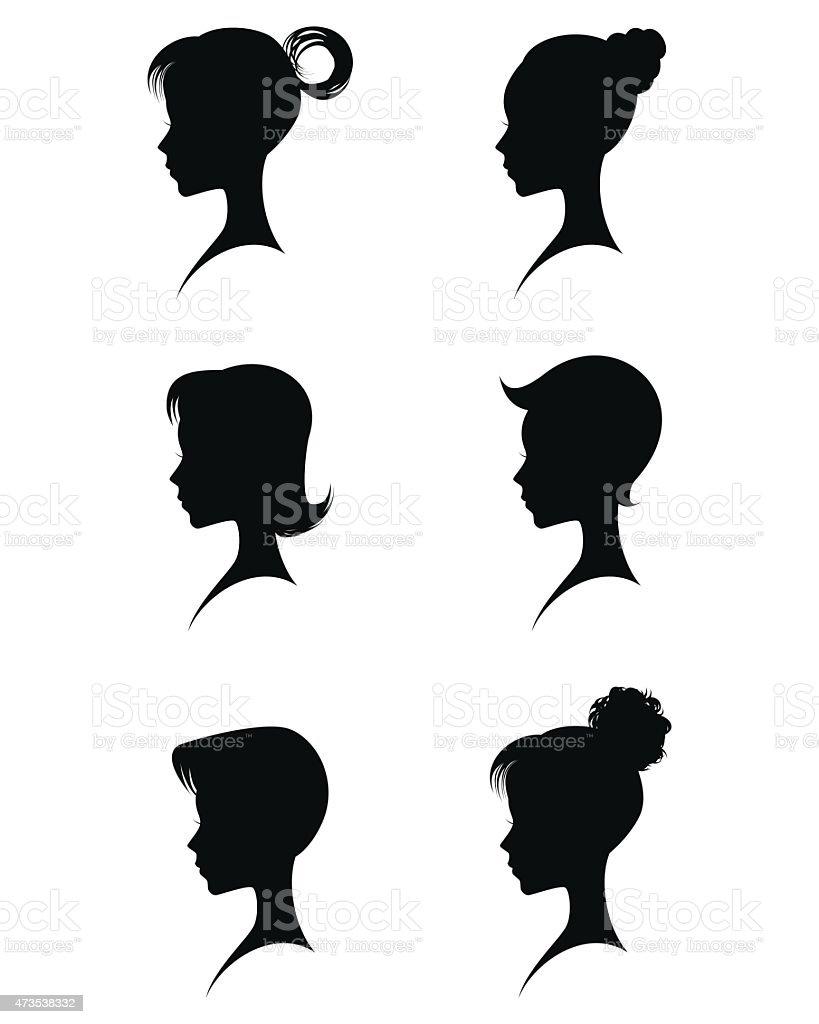 Silhouettes head girls vector art illustration