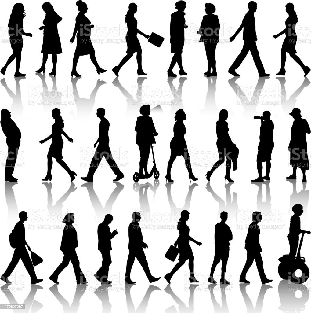 silhouettes mans and womans vector art illustration