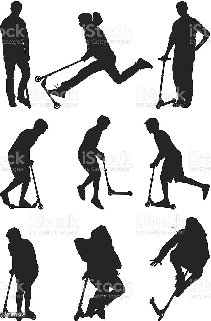 Silhouettes men playing on push scooters vector art illustration