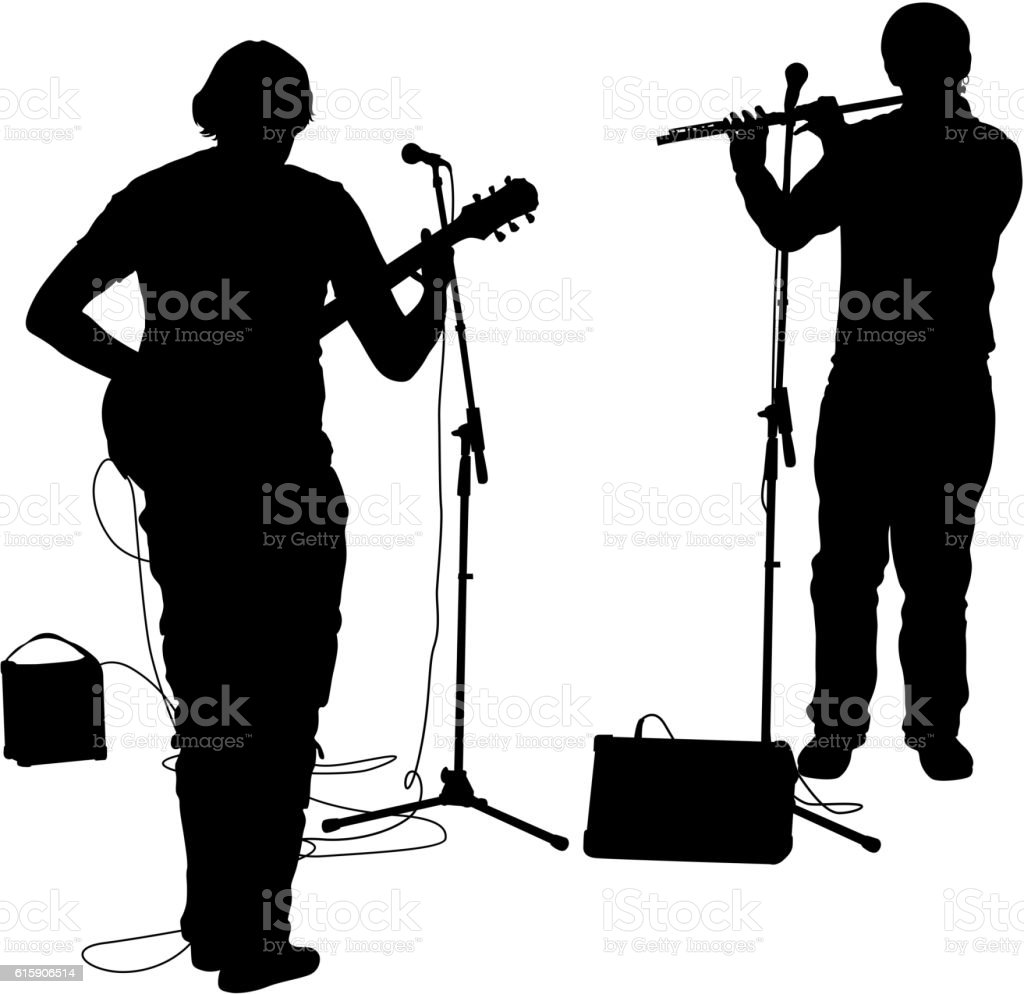 Silhouettes musicians plays the guitar and flute. Vector illustration vector art illustration