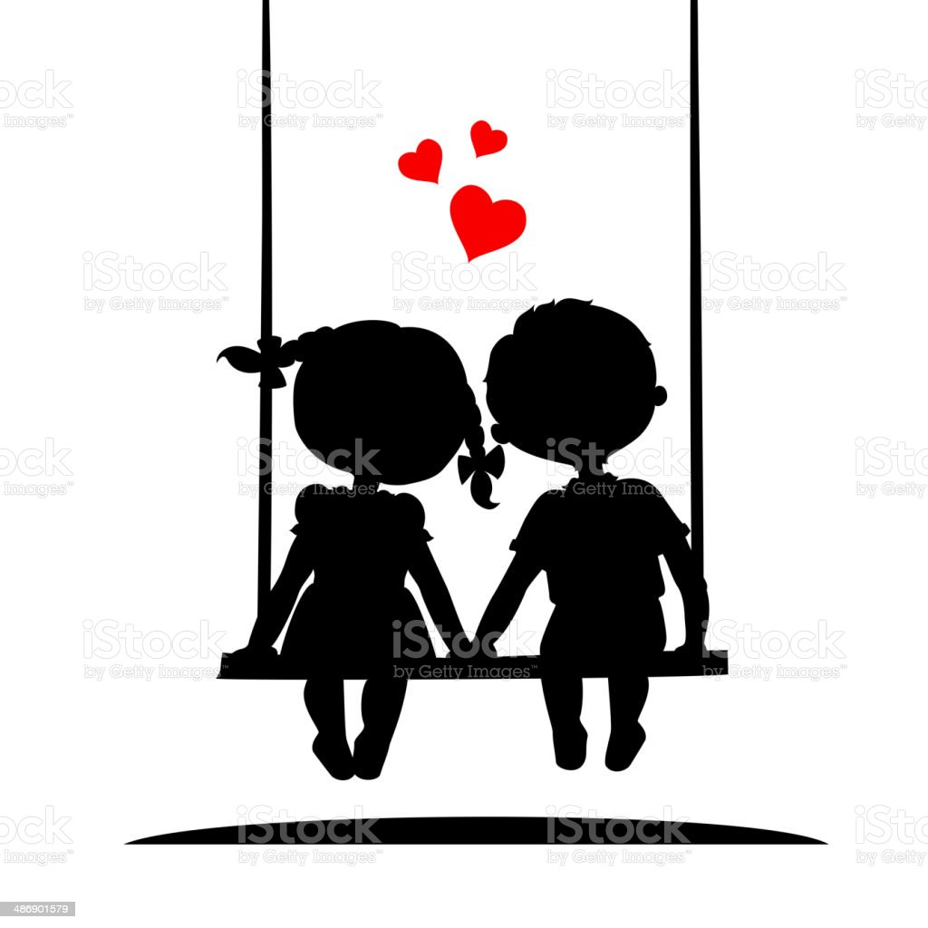 Silhouettes of a boy and girl vector art illustration