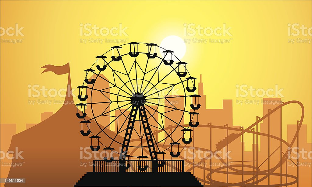 silhouettes of a city and amusement park royalty-free stock vector art