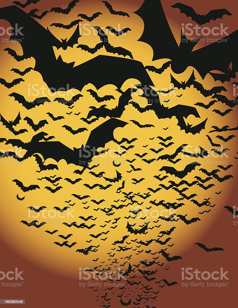 Silhouettes of a colony of bats against a yellow moon vector art illustration