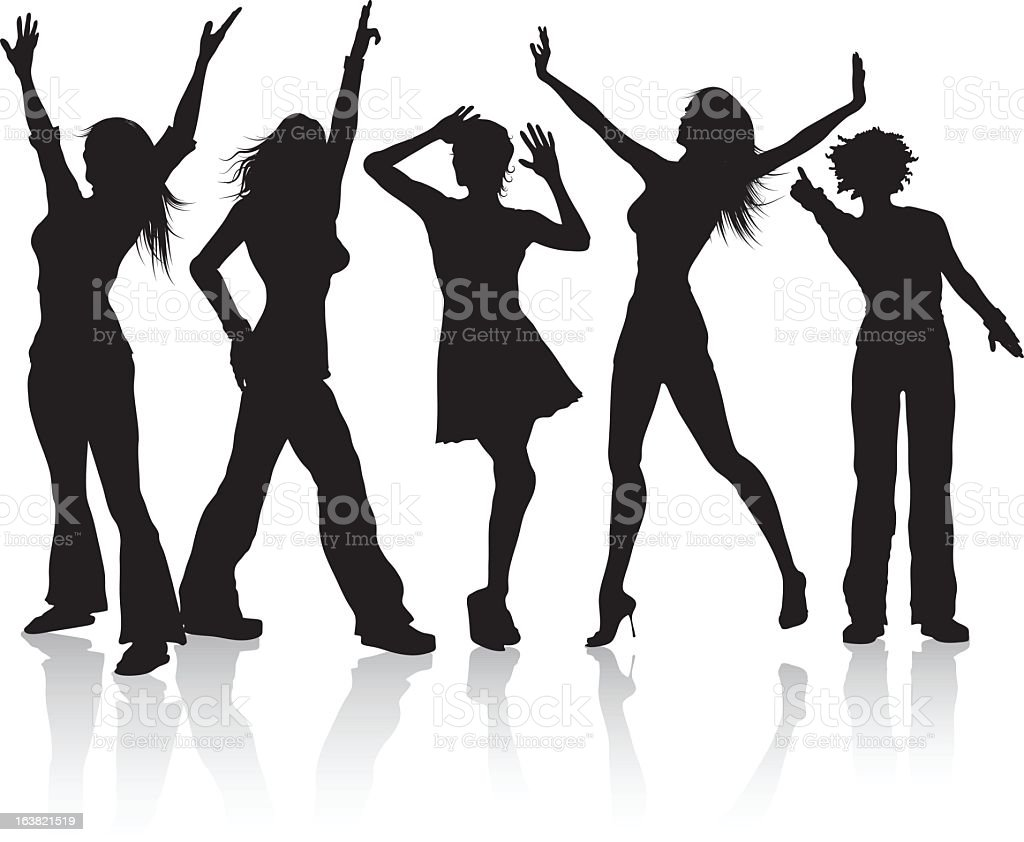 Silhouettes of a group of disco divas royalty-free stock vector art