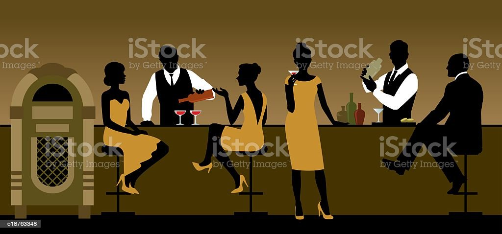 Silhouettes of a group of people drinking in a bar vector art illustration