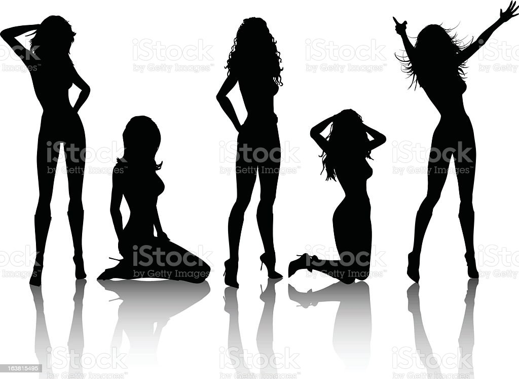 Silhouettes of a group of sexy females vector art illustration