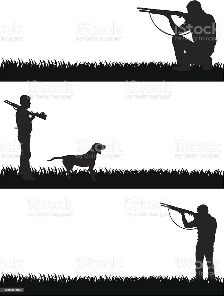 Silhouettes of a hunter and his dog vector art illustration