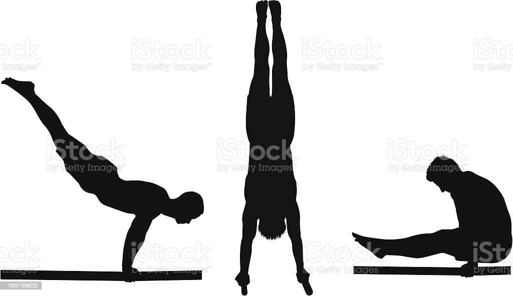 Silhouettes of a male gymnast on the parallel bars vector art illustration