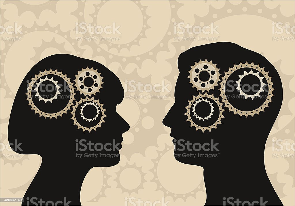 Silhouettes of a man and woman with gears in heads royalty-free stock vector art