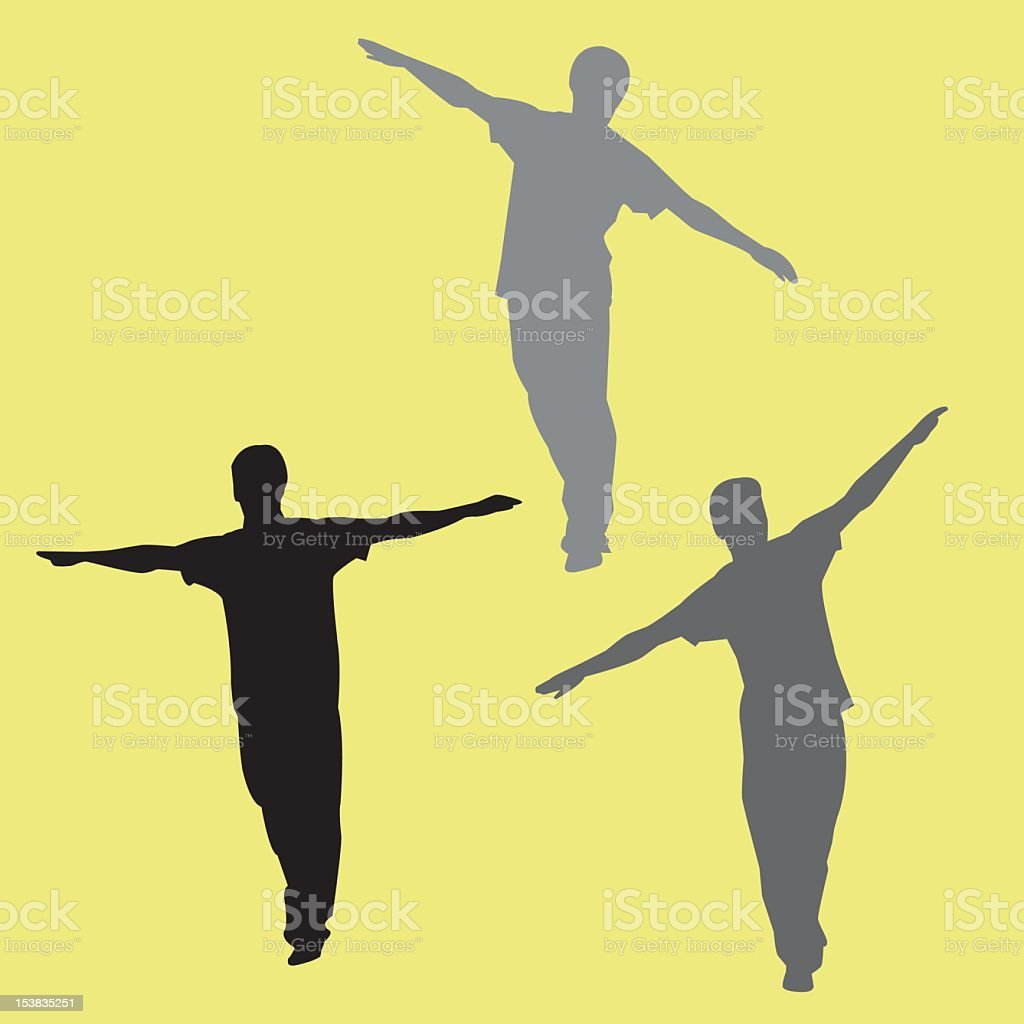 3 silhouettes of a man trying to balance himself royalty-free stock vector art