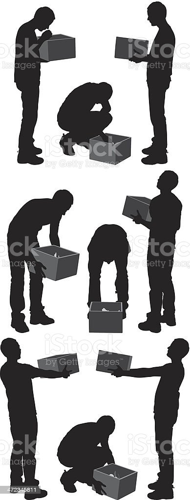 Silhouettes of a man with box vector art illustration