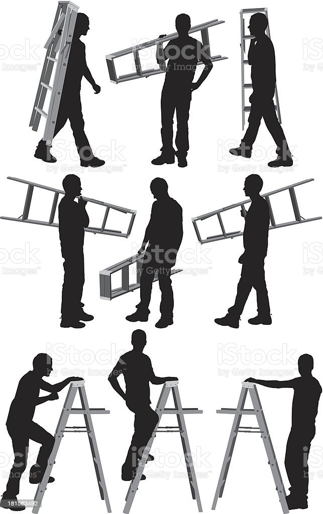 Silhouettes of a men with ladder royalty-free stock vector art