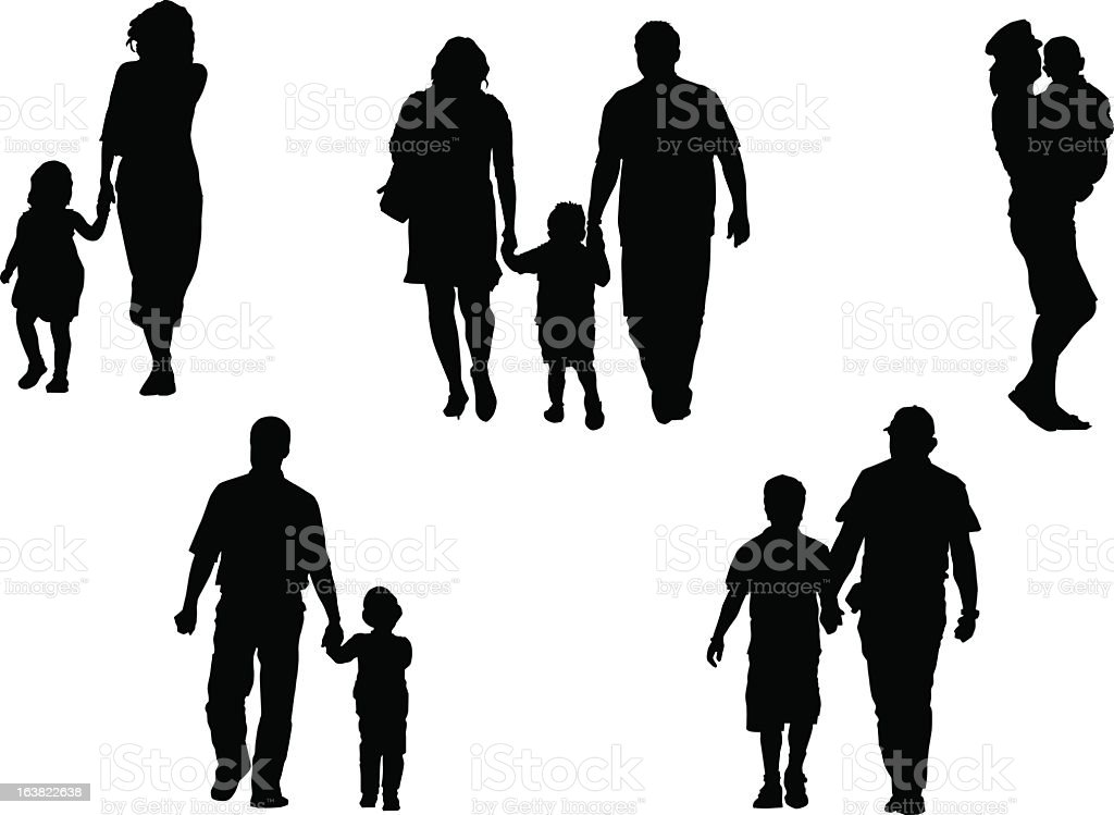 Silhouettes of Adults holding hands with children vector art illustration